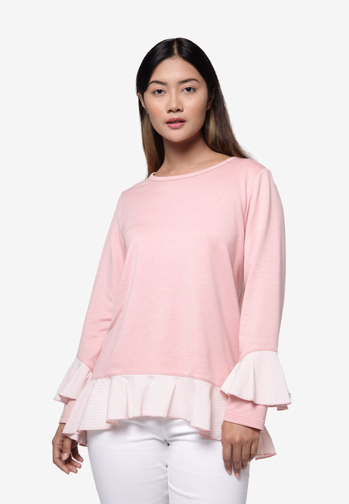 Long Sleeve with Frills Hemline Top - Pink