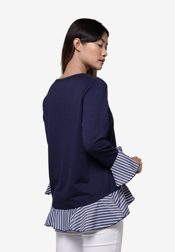 Long Sleeve with Frills Hemline Top - Navy