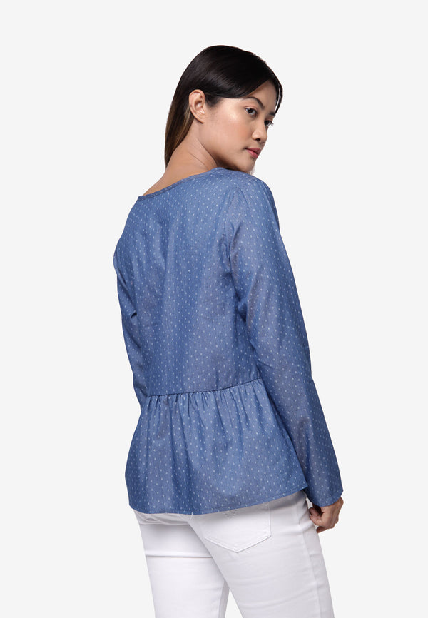 Long Sleeve Polka Dot Denim Peplum Top - Blue