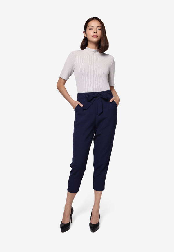 High Waisted Cropped Pant in Blue