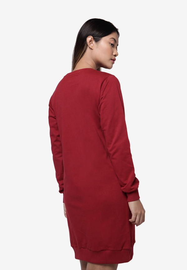 Long Sleeve Sweater Dress - Maroon