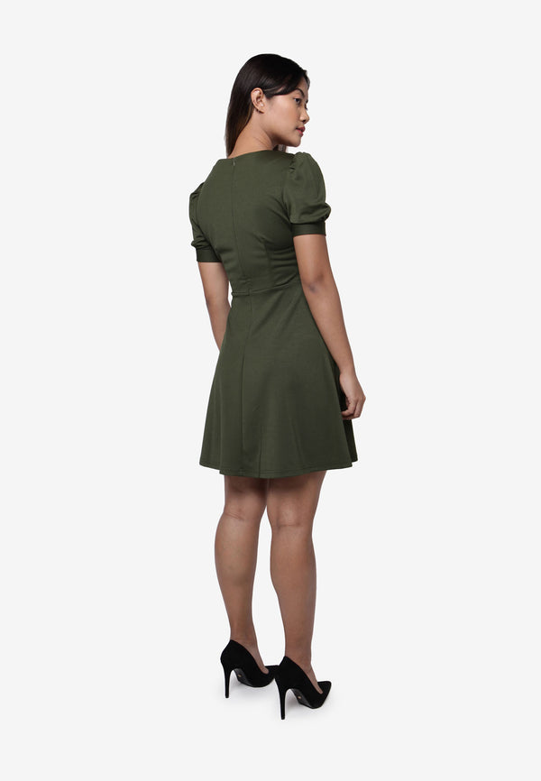 Basic Puff Sleeve Dress - Green