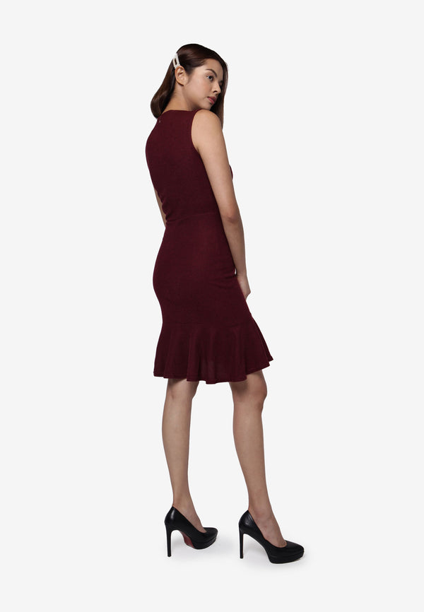 Sleeveless Dress with Ruffles Bottom - Maroon