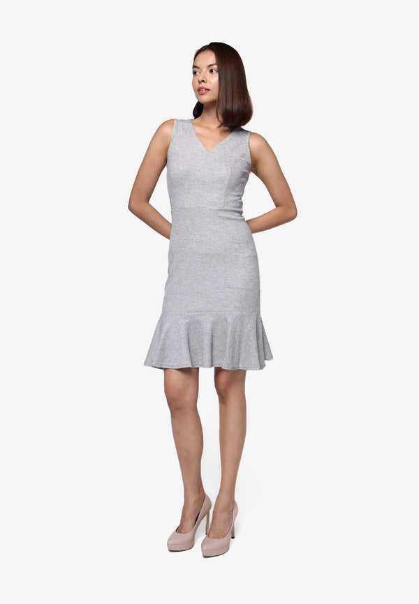Sleeveless Dress with Ruffles Bottom - GREY