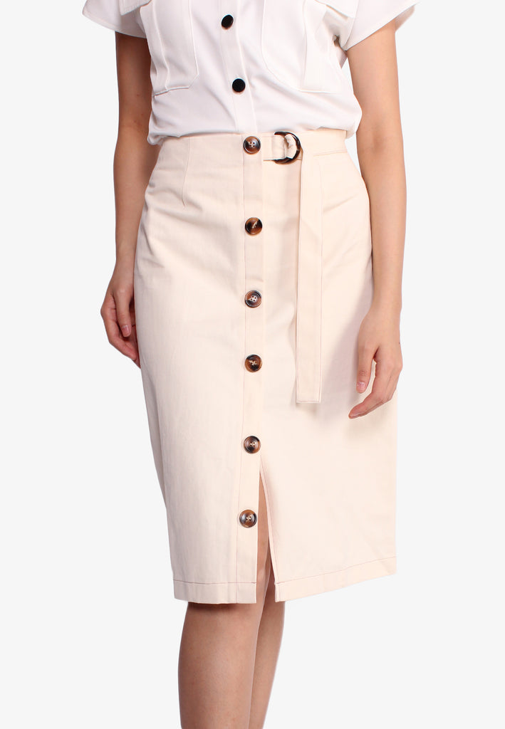 SODA Midi Button Down Pencil Skirt