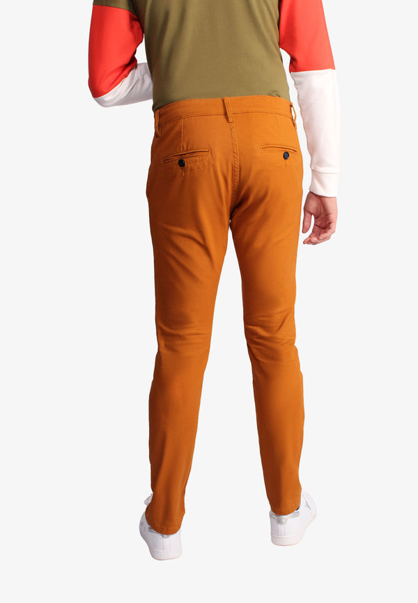 Casual Golden Brown Regular Fit Trousers