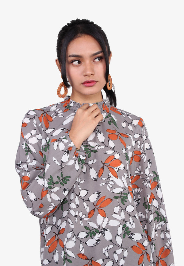 Smocking High Neck Leaves Printed Blouse