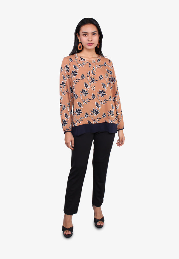 Half Placket Floral Long Blouse