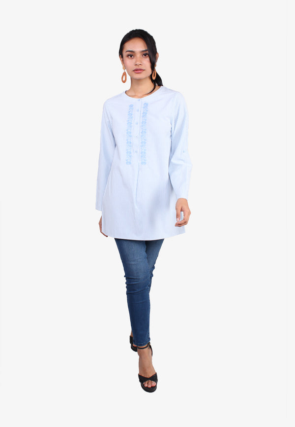 Front Embroidery Open Buttoned Shirt