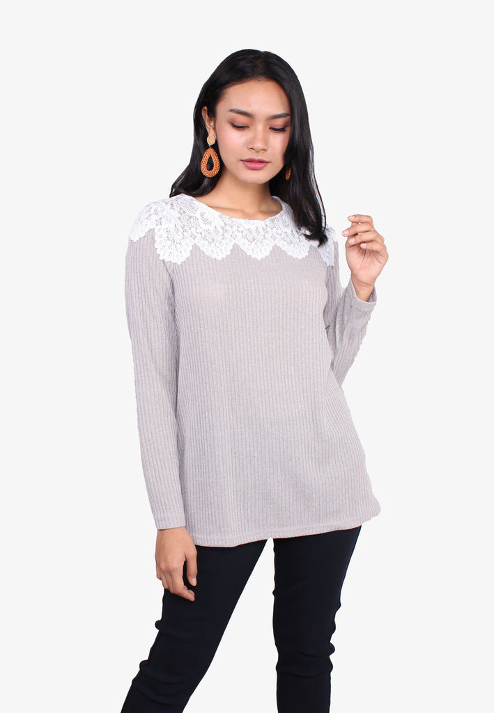 Shoulder Lace Stitch Knit Top