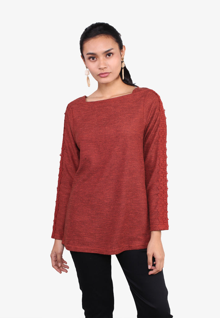 Lace Sleeves Stitch Knit Top