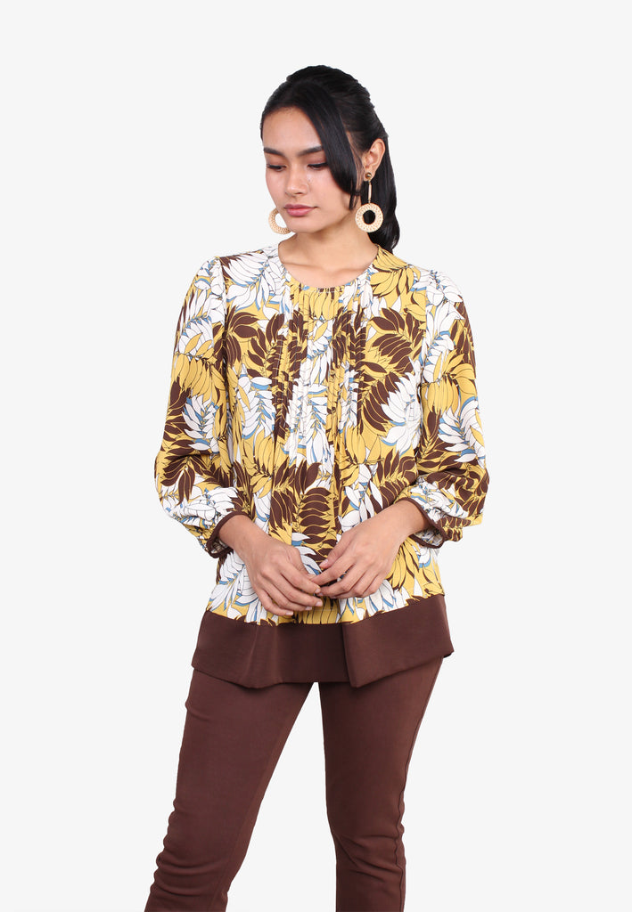 Front Pleats Leaves Print Blouse