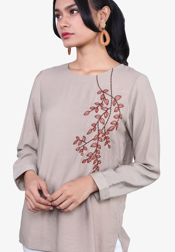 Leaves Embroidery Long Sleeve Blouse