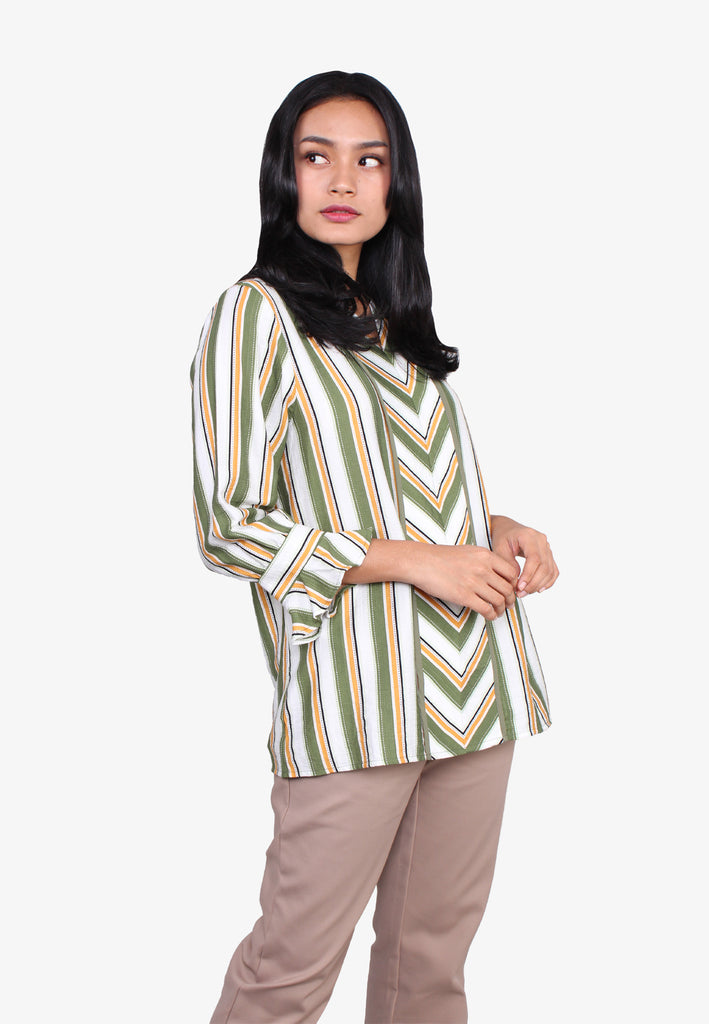 Striped Flared Sleeves Blouse