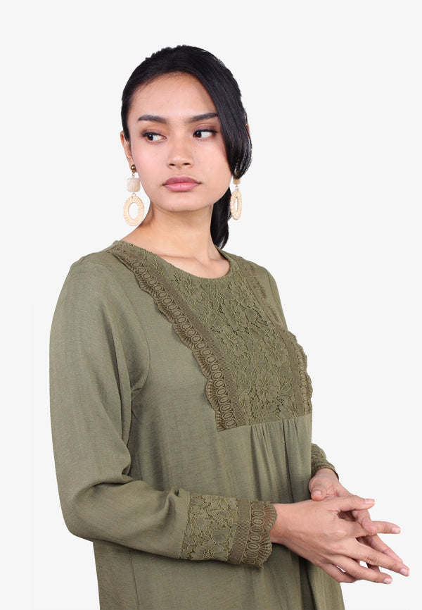 Lace Trimming Front & Sleeves Blouse