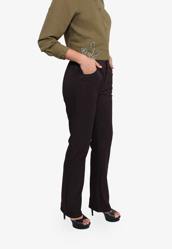 Straight Zipper Knit Pants