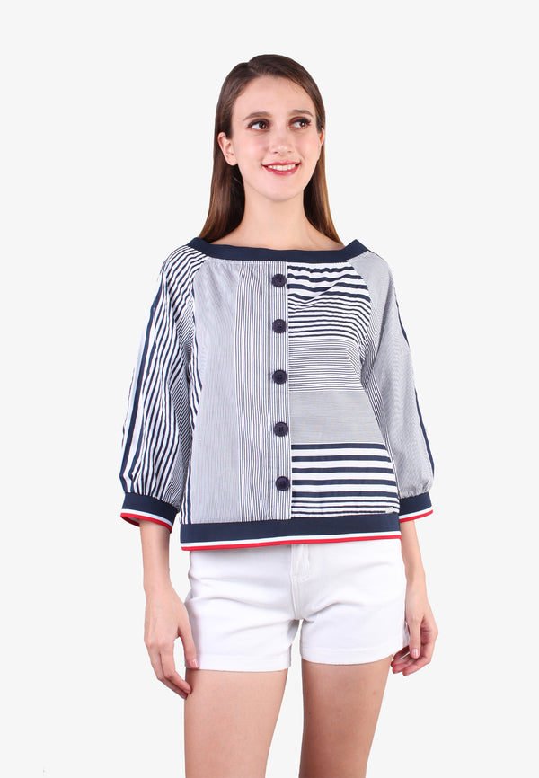 Striped 3/4 Sleeve Shirt Blouses