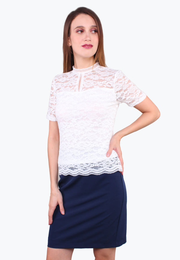 Stand Collar Keyhole Lace Top