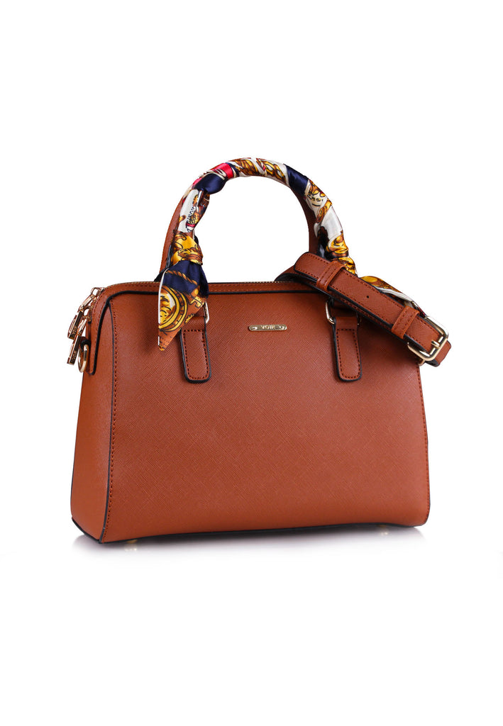 Scarf-Wrapped Top Handle Satchel Bag