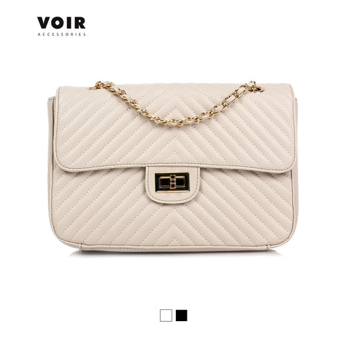 VOIR Mid-sized Quilted Shoulder Bag with Turn Lock Closure VN101140-U031805