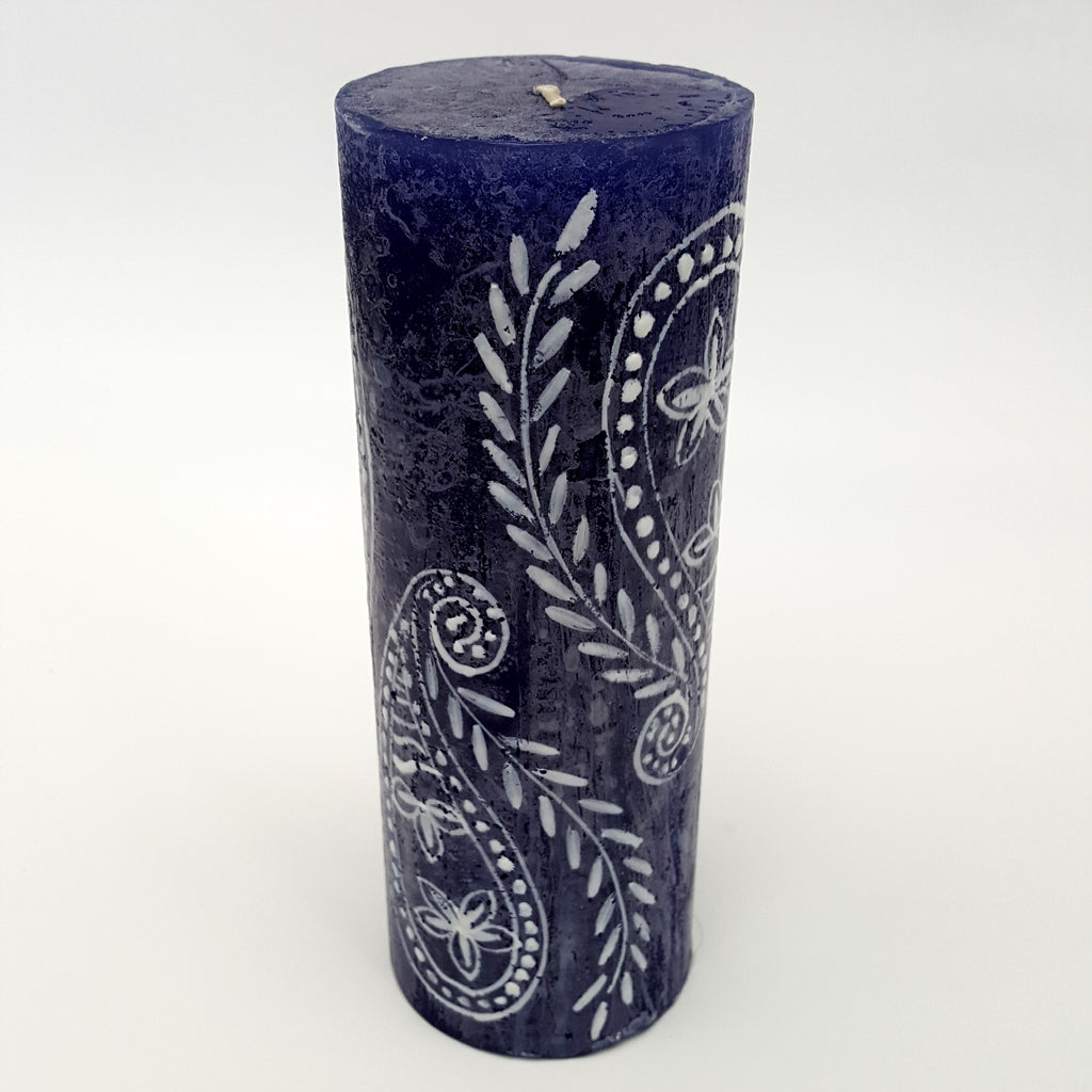 Hand Painted Large Size Candle - White on Blue