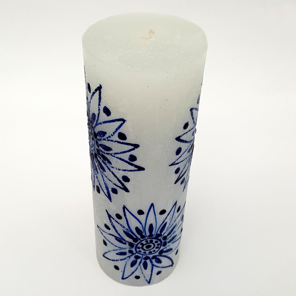 Hand Painted Large Size Candle - Blue on White