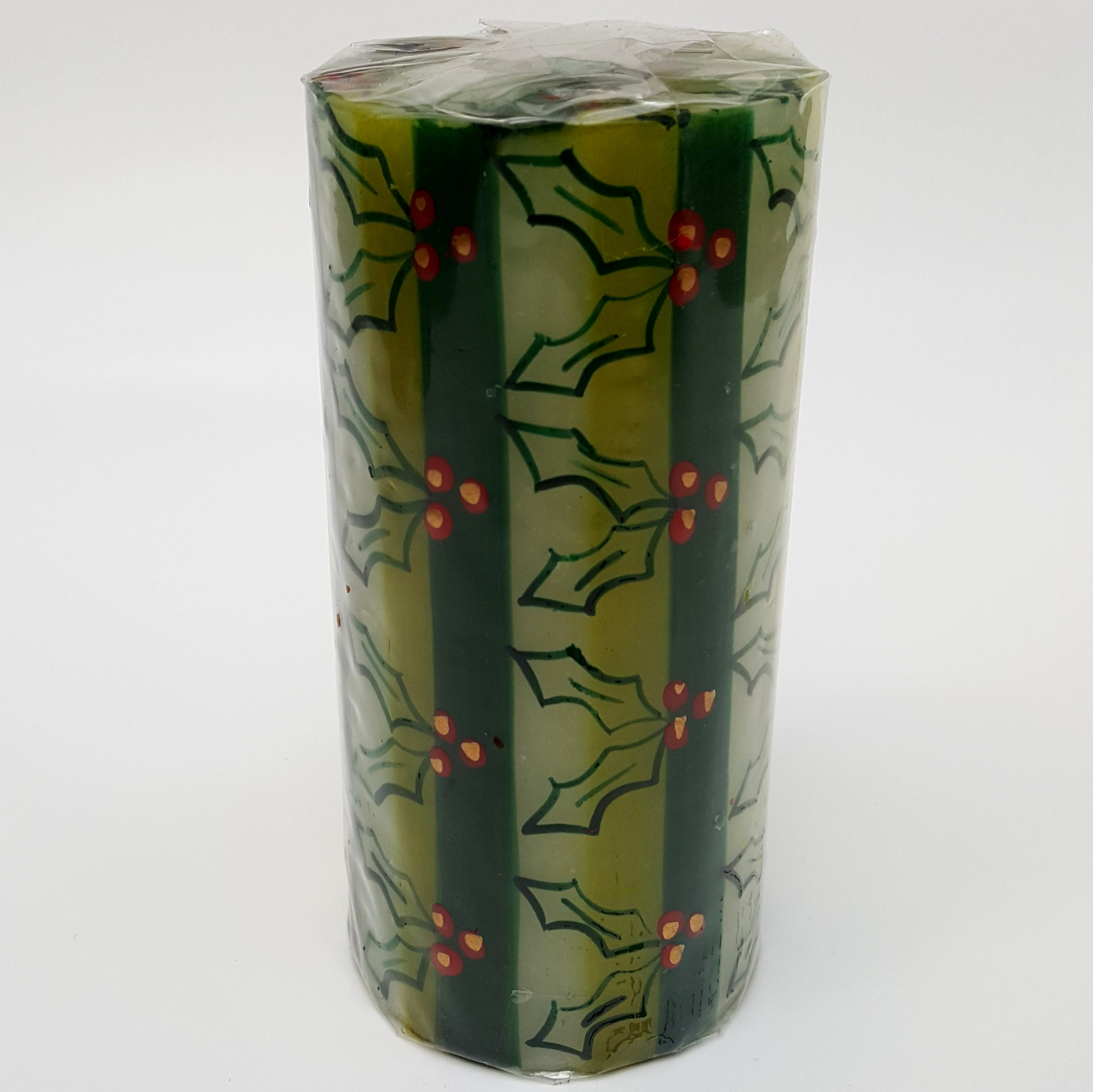 Hand Painted Christmas Candle Holly - Large