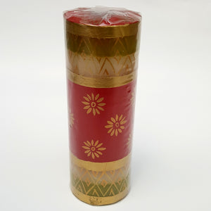 Hand Painted Christmas Candle Gold Flower on Red and White - Large