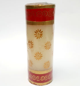 Hand Painted Christmas Candle Gold Flower on White - Large