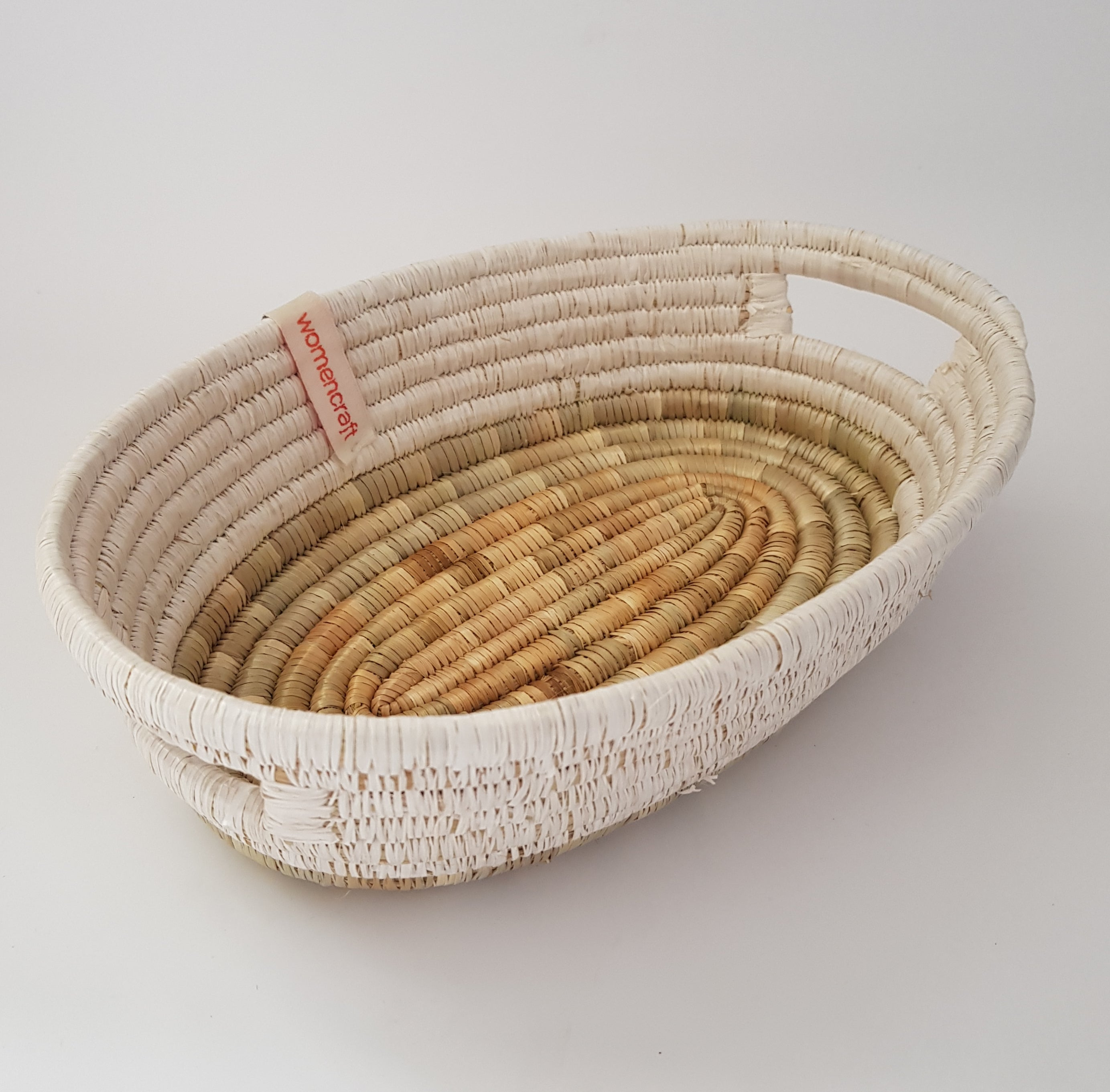 WomenCraft - Mkate Handled Basket - White