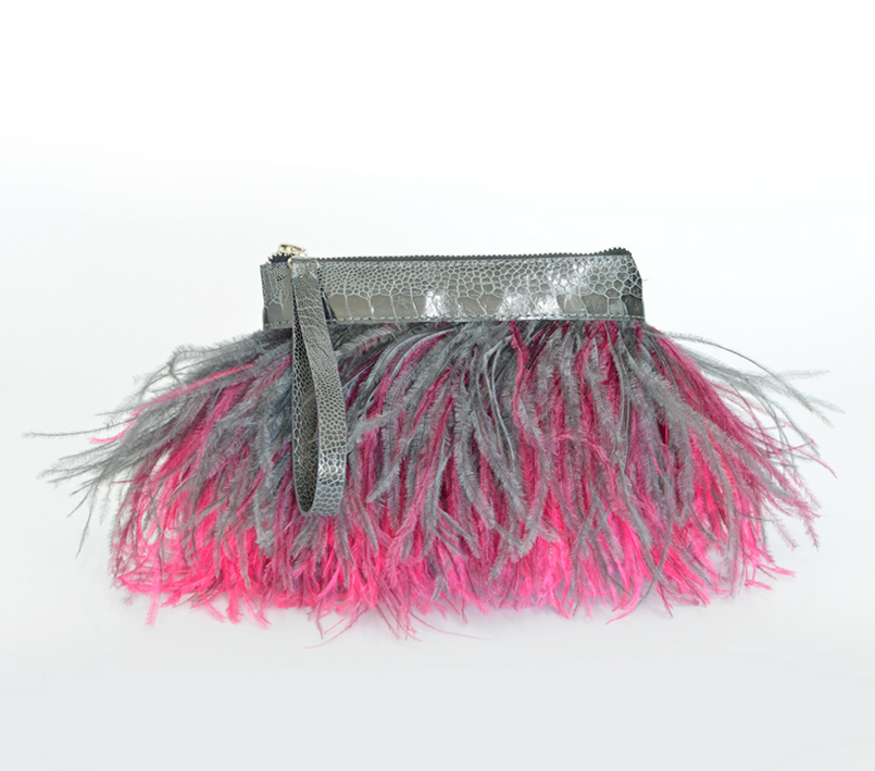 Rarity Feather Clutch - Grey and Hot Pink