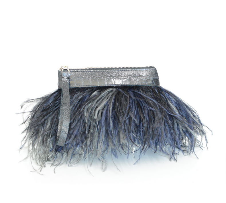 Rarity Feather Clutch - Black & Navy