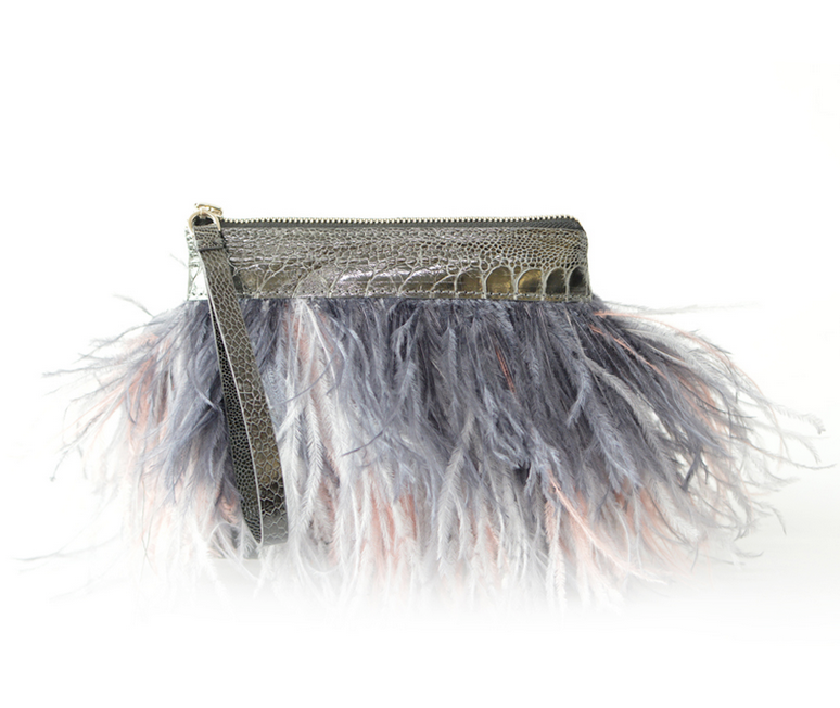 Rarity Feather Clutch - Grey & Lavender
