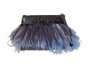 Rarity Feather Clutch - Grey & Baby Blue
