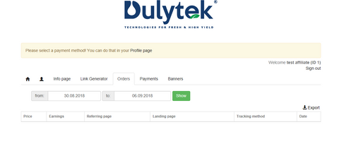 Dulytek Affiliate Referral Orders