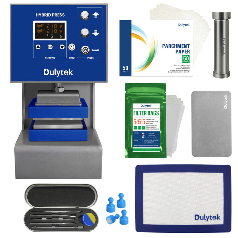 Dulytek DW8000 4 Ton Hybrid Plug-and-Play Rosin Press and Accessories Bundle for Solventless Extraction