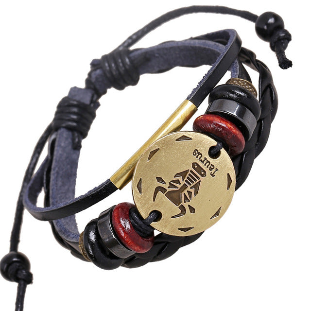 Zodiac Partner Leather Bracelet