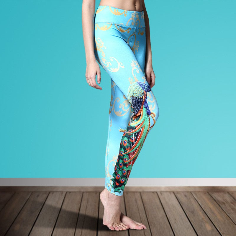 Women's Printed Stretch Sport Leggings-pant-Dee SuSu-Peacock 1-S-Dee SuSu