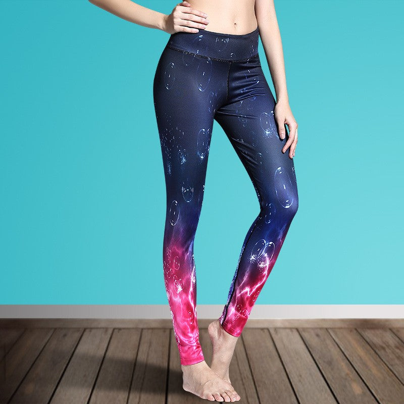 Women's Printed Stretch Sport Leggings-pant-Dee SuSu-Air Bubbles-S-Dee SuSu