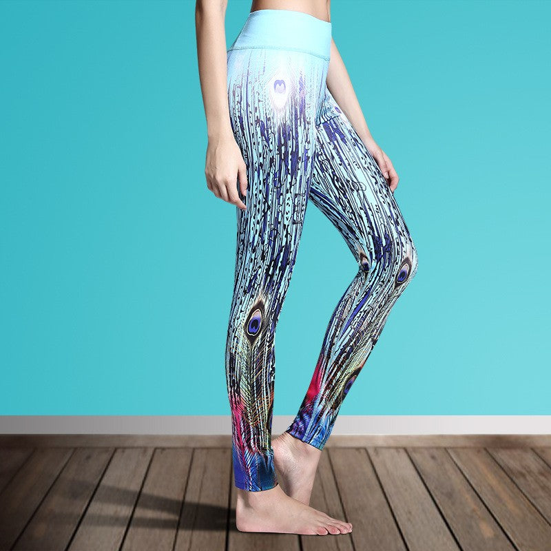 Women's Printed Stretch Sport Leggings-pant-Dee SuSu-Peacock 2-S-Dee SuSu
