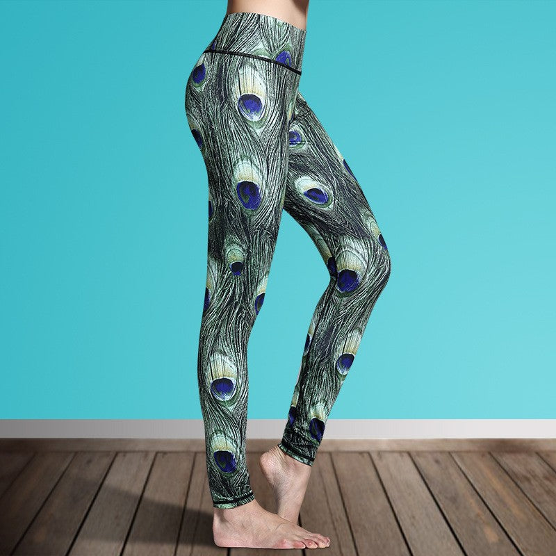 Women's Printed Stretch Sport Leggings-pant-Dee SuSu-Peacock Feathers-S-Dee SuSu
