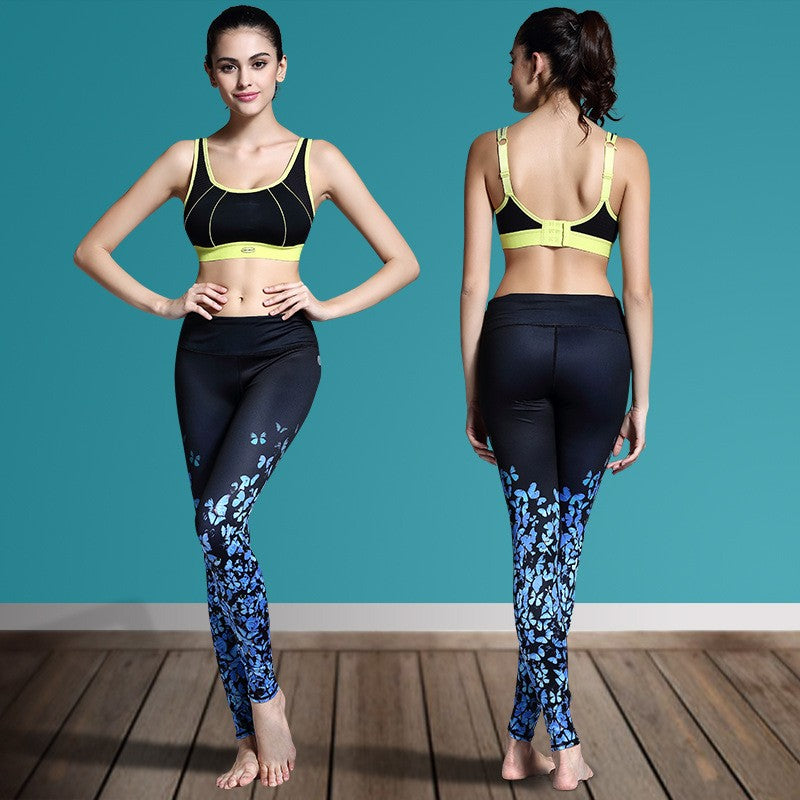Women's Printed Stretch Sport Leggings-pant-Dee SuSu-Butterfly Blue-S-Dee SuSu