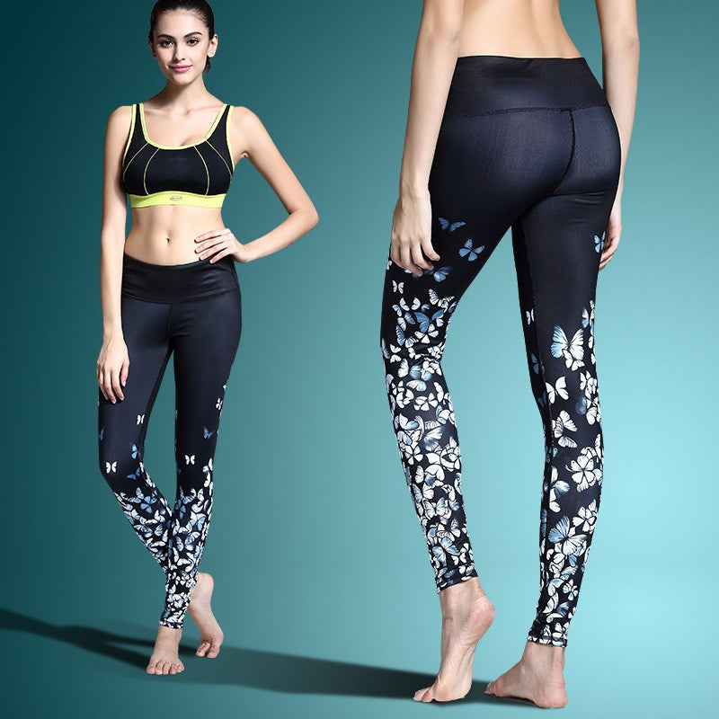 Women's Printed Stretch Sport Leggings-pant-Dee SuSu-Butterfly White-S-Dee SuSu