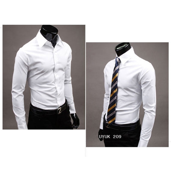 Men's Button Up Shirts - Business Shirts-shirt-Dee SuSu-White-M-Dee SuSu