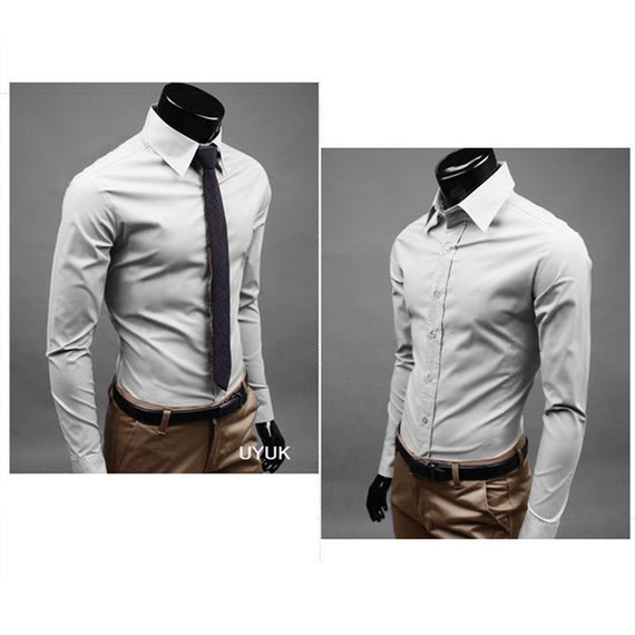 Men's Button Up Shirts - Business Shirts-shirt-Dee SuSu-Grey-M-Dee SuSu