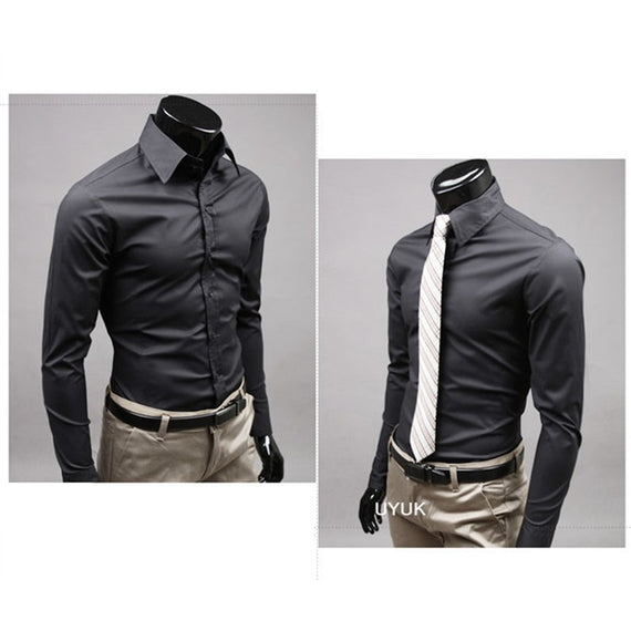 Men's Button Up Shirts - Business Shirts-shirt-Dee SuSu-Black-M-Dee SuSu