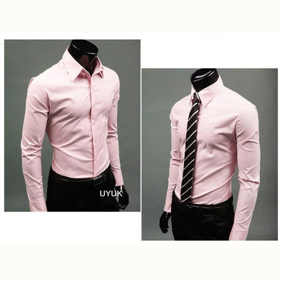 Men's Button Up Shirts - Business Shirts-shirt-Dee SuSu-Pink-M-Dee SuSu