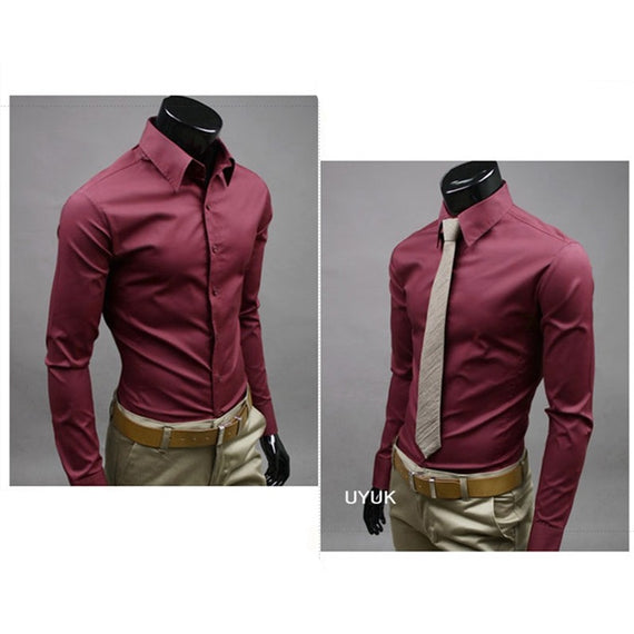 Men's Button Up Shirts - Business Shirts-shirt-Dee SuSu-Wine-M-Dee SuSu
