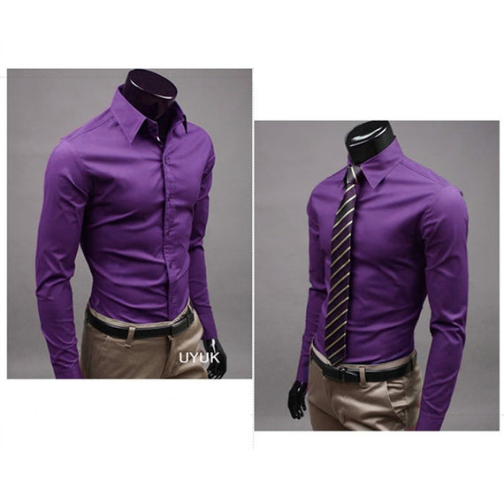Men's Button Up Shirts - Business Shirts-shirt-Dee SuSu-Purple-M-Dee SuSu