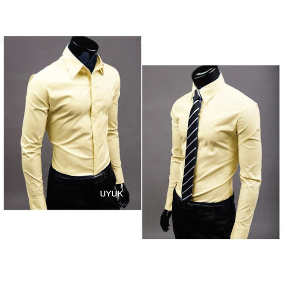 Men's Button Up Shirts - Business Shirts-shirt-Dee SuSu-Light yellow-M-Dee SuSu